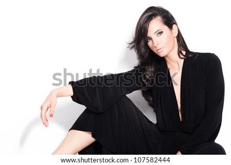 adult beautiful black hair stylish woman portrait studio shot