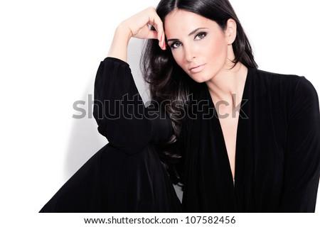 adult beautiful black hair stylish woman portrait studio shot Stock photo ©