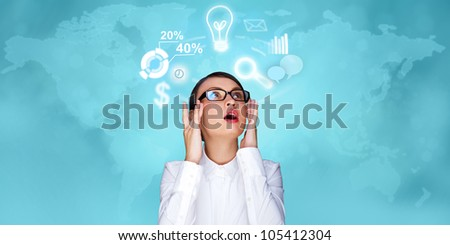 Adult business woman working at virtual office. Digital century and modern technologies concept