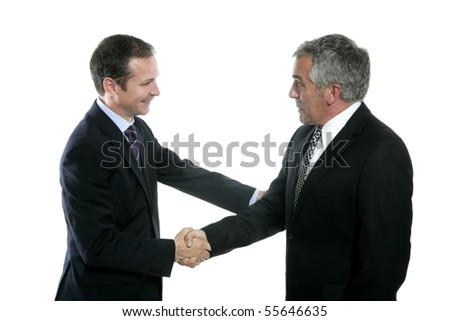adult businessman handshake expertise portrait dark suit white background