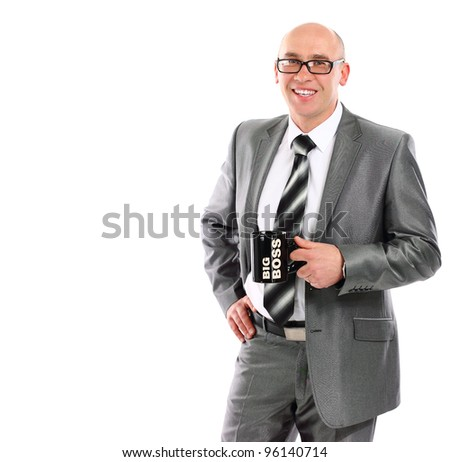 Adult businessmen holding a cup of tea isolated on white - stock photo