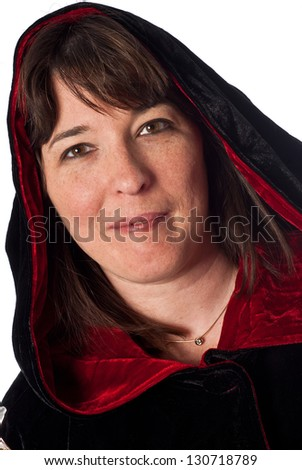 Adult caucasian female wearing a black and red robe