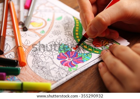 Adult colouring with soft tip pencils