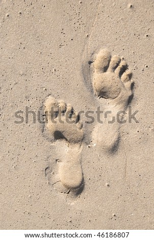 stock photo adult foot prints in the sand both the prints are of the left leg 46186807 Adult's foot
