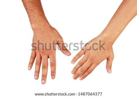 adult girl and adult boy right hands