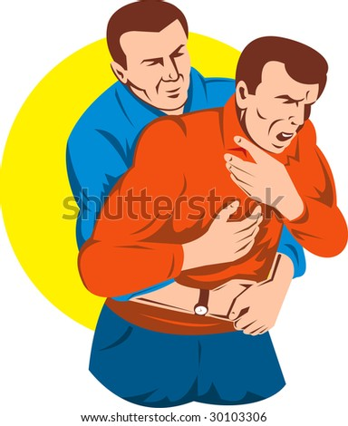 Adult giving another adult male a heimlich maneuver