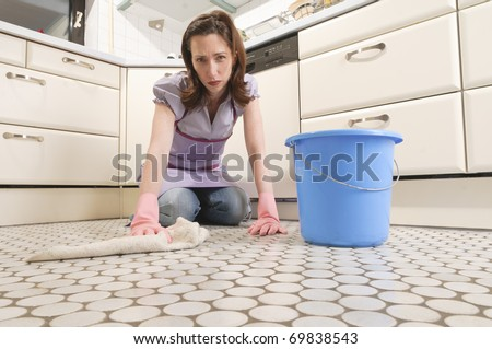 stock photo adult housewife cleans the floor with mop and bucket in her kitchen 69838543 hot girls, puertorrican naked girls, punish school nude girl pics, punished