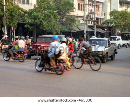 Adult & Kids crossing junction. 3of4. Mandalay, Myanmar, (Burma)