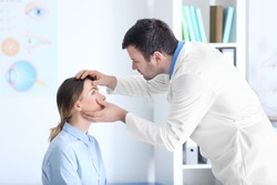 Adult male doctor examining patient