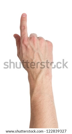 adult male hand touching virtual screen, isolated on white