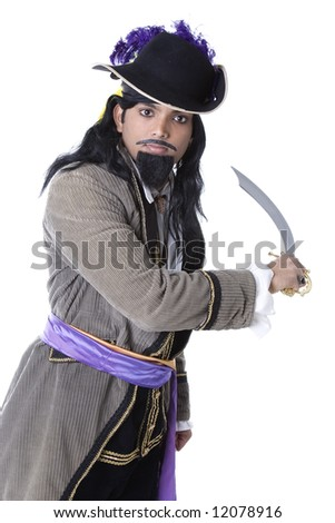 stock photo : Adult Male Indian Model dressed as pirate over white ...