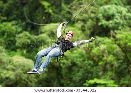 Shutterstock Adult Male Tourist Wearing Casual Clothing On Zip Line Or Canopy Experience In Ecuadorian Rain Forest