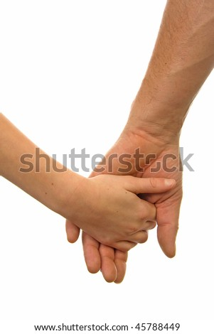 stock photo : Adult man and child holding hands over white background