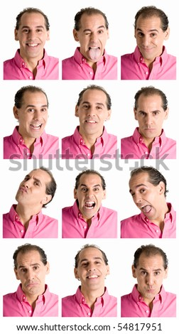Adult man face expressions composite isolated on white background.