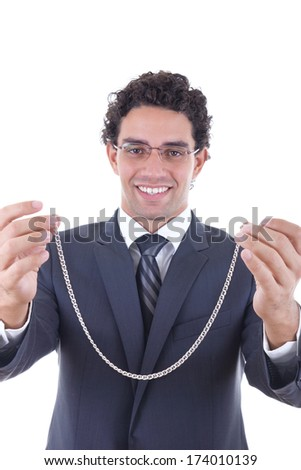 adult man gives a silver necklace as a gift #174010139