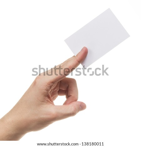 adult man hand holding blank card, isolated on white