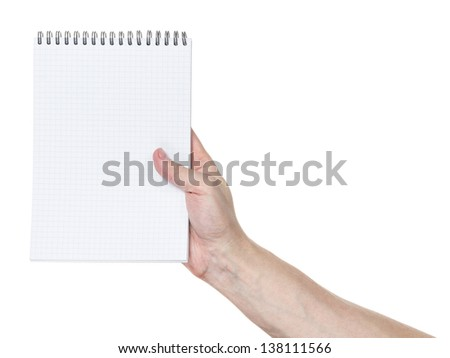 adult man hand holding notebook on a spring with blank page to write something, isolated