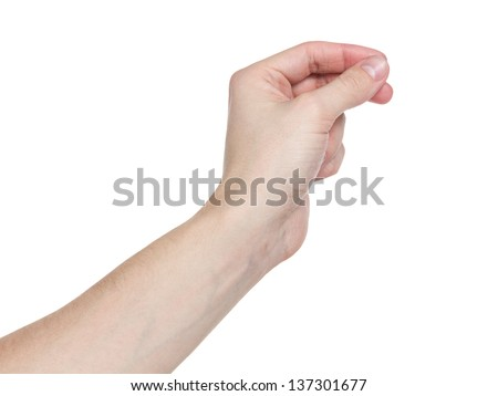 adult man hand to hold paper card, isolated on white
