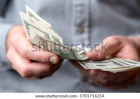 Adult man hands count money dollars Foto stock ©