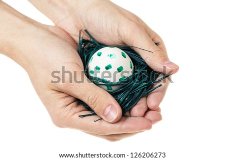 adult man hands holding nest with egg, isolated
