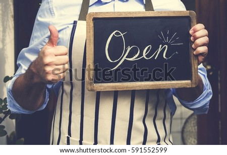 Adult Man Hands Holding Open Sign #591552599