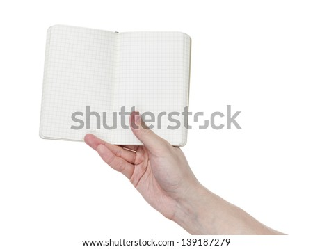 adult man hands shows open notebook, isolated