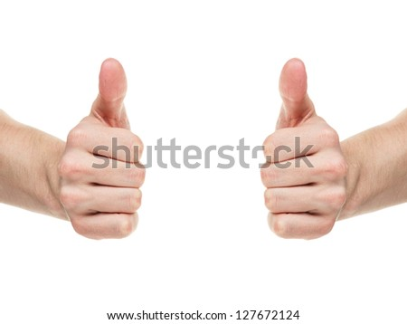 adult man hands shows thumbs up, isolated on white