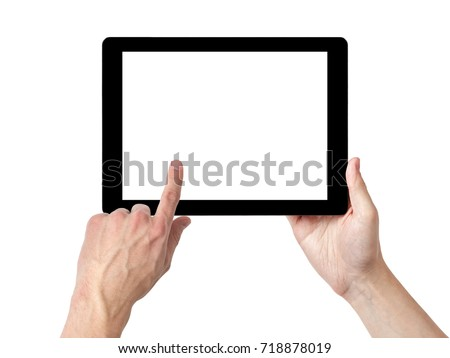 adult man hands using tablet pc with white screen #718878019