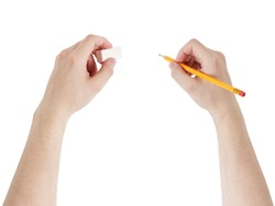 adult man hands with pencil and eraser, isolated