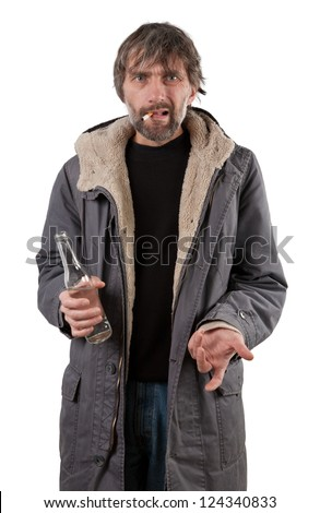 adult man holding bottle isolated on white