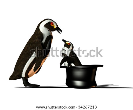 Adult Penguin talking to a small Penguin who is standing in a Top Hat.  Clean white background
