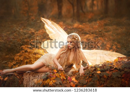 adult relax slim girl golden fairy. woman model blond blonde long hair gold wreath orange leaves forest tree beige dress bare sexy legs glowing shine bright light warm wings autumn art photo shoot
