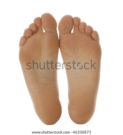 adult size feet isolated on white background