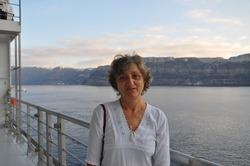 Adult tourists visit Santorini island, Greece
