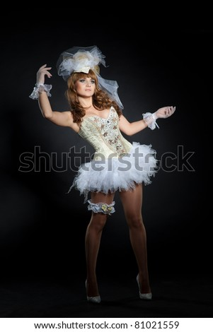 Adult wearing wedding doll costume, studio isolated shot