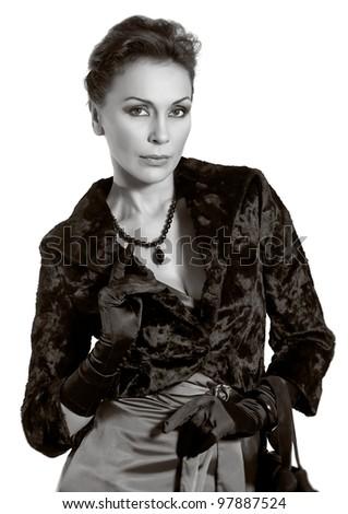 adult woman close up studio portrait
