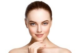 Adult woman portrait, skin care concept, beautiful skin and hands with manicure nails.