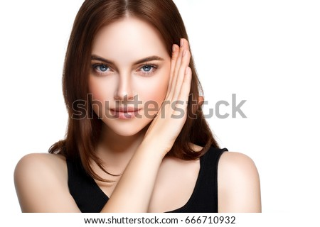 Stock Photo Adult woman portrait, skin care concept, beautiful skin and hands with manicure nails.
