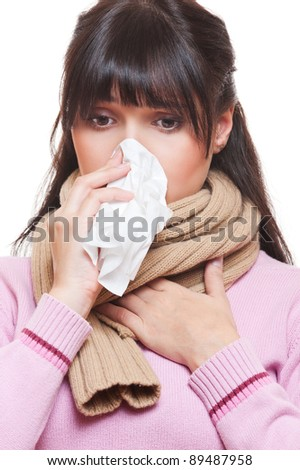 adult woman with cold. isolated on white background