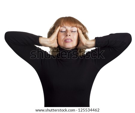 Adult woman with head pain - stock photo