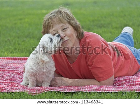 Adult Woman With Her Dog