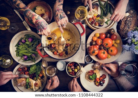 Adults at a dinner party food photography recipe idea - Shutterstock ID 1108444322