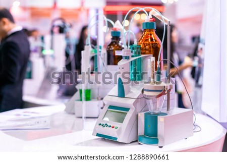 advance technology automatic titrator device for dosing chemical for volumetric or quantitative analysis in industrial medical pharmaceutical nutraceuticals food beverage etc.
