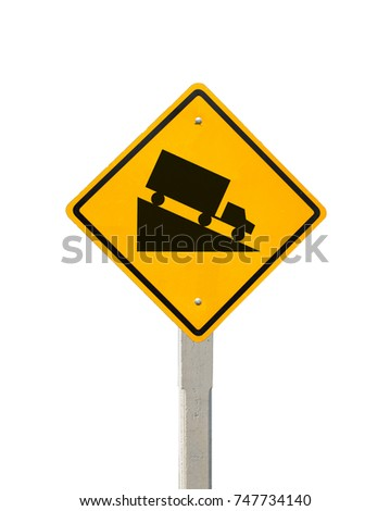 Advance warning hill symbol sign indicates a steep grade ahead, Road symbol signs and traffic symbols for roadway, Yellow board with reflection and concrete post, isolated on white with clipping path