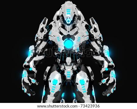 Advanced battle robot 3d render