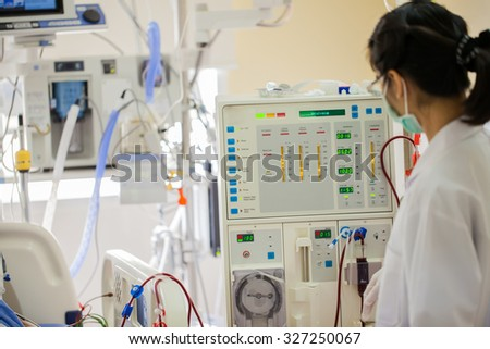 Advanced dialysis equipment in hospital
