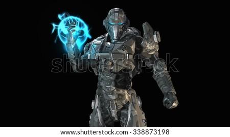 Stock Photo Advanced future soldier
