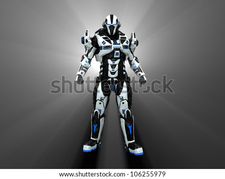 Advanced futuristic soldier - stock photo