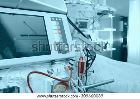 Advanced medical equipment in hospital ward