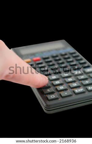 Advanced Scientific Calculator Isolated on White Background with Finger